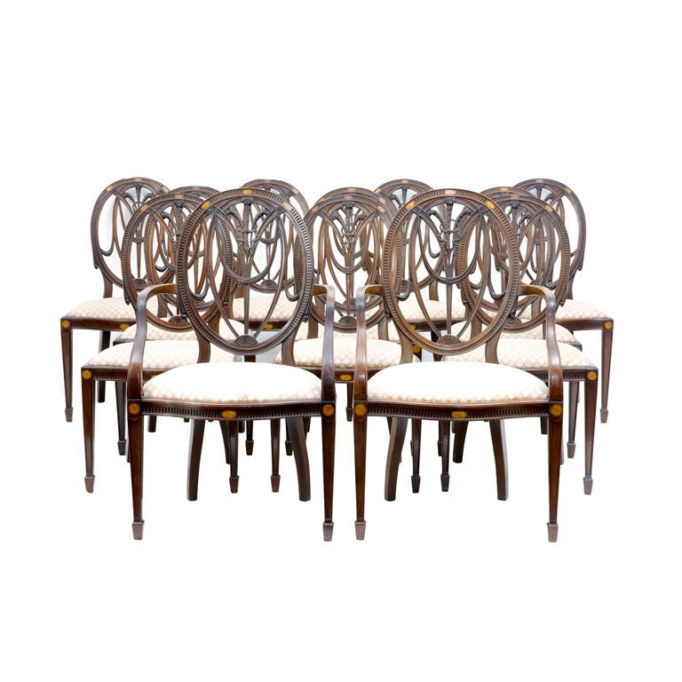 Set Of 12 Sheraton Style Dining Chairs Circa 1860 At 1stdibs