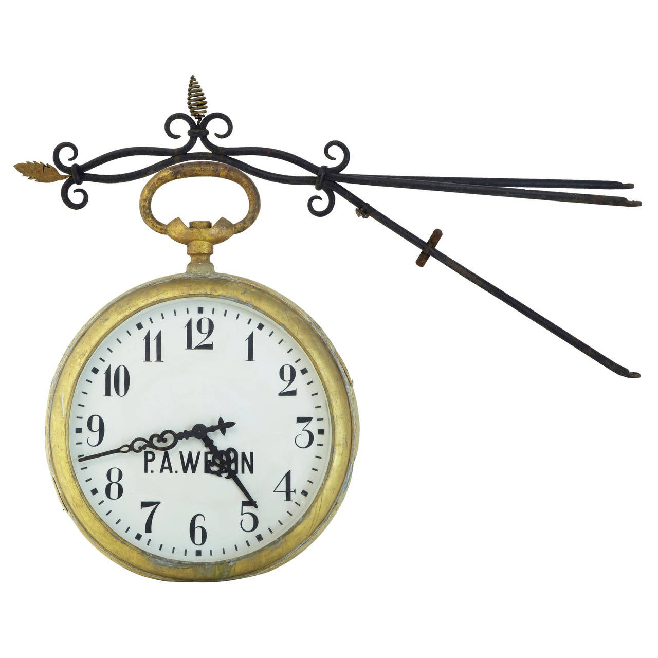 Unique early 20th century tole oversized street clock for Unusual clocks for sale