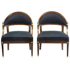 Pair of 19th Century Empire Mahogany Armchairs