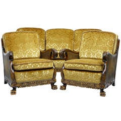 Early 20th Century Swedish Birch Bergere Suite Sofa Armchairs