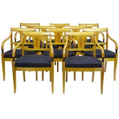 Rare set of 10 art deco Swedish birch armchairs