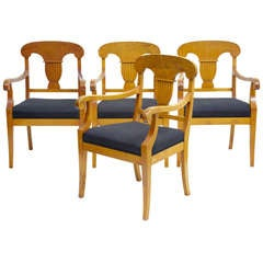 Set of Four 19th Century Birch Armchairs