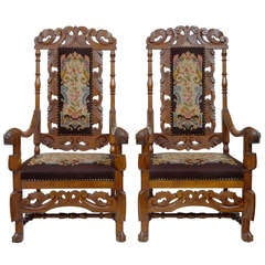 Pair of 19th Century Oak Throne Armchairs