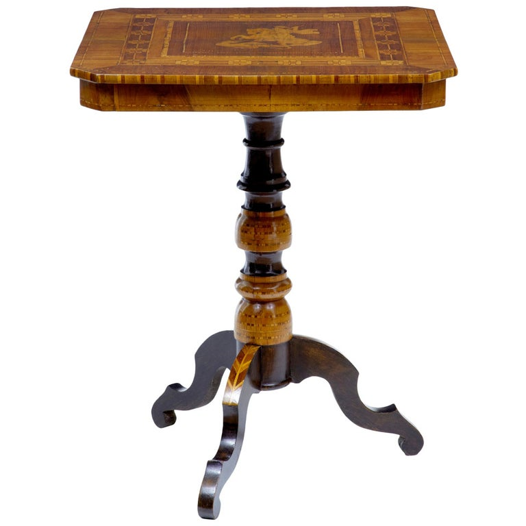 Late 19th Century Italian Walnut Sorrento Occasional Table For Sale