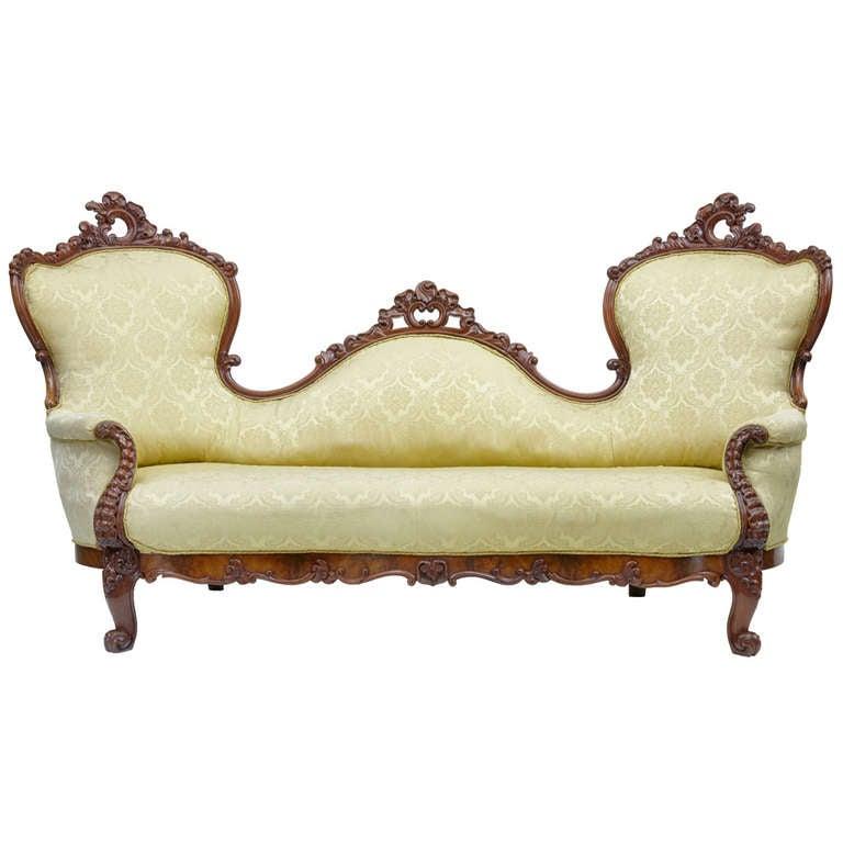 19th Century Carved Mahogany Victorian Sofa 1