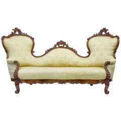 Exceptional 19th Century Carved Mahogany Victorian Sofa