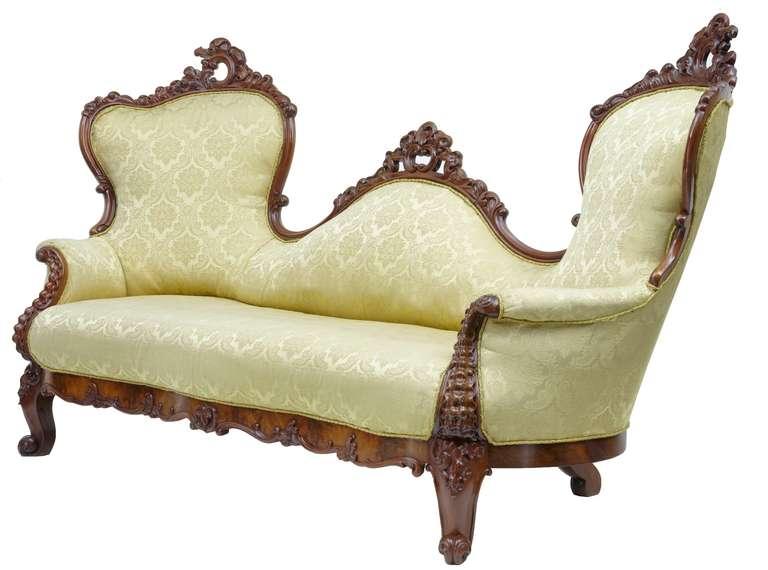 19th Century Carved Mahogany Victorian Sofa 2