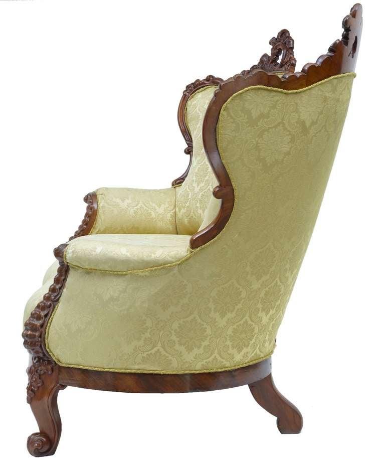 19th Century Carved Mahogany Victorian Sofa 3