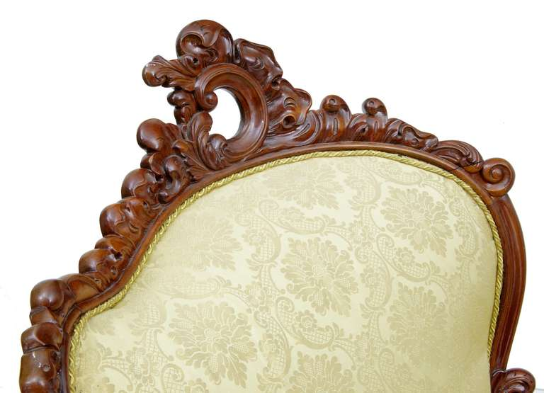 19th Century Carved Mahogany Victorian Sofa 4