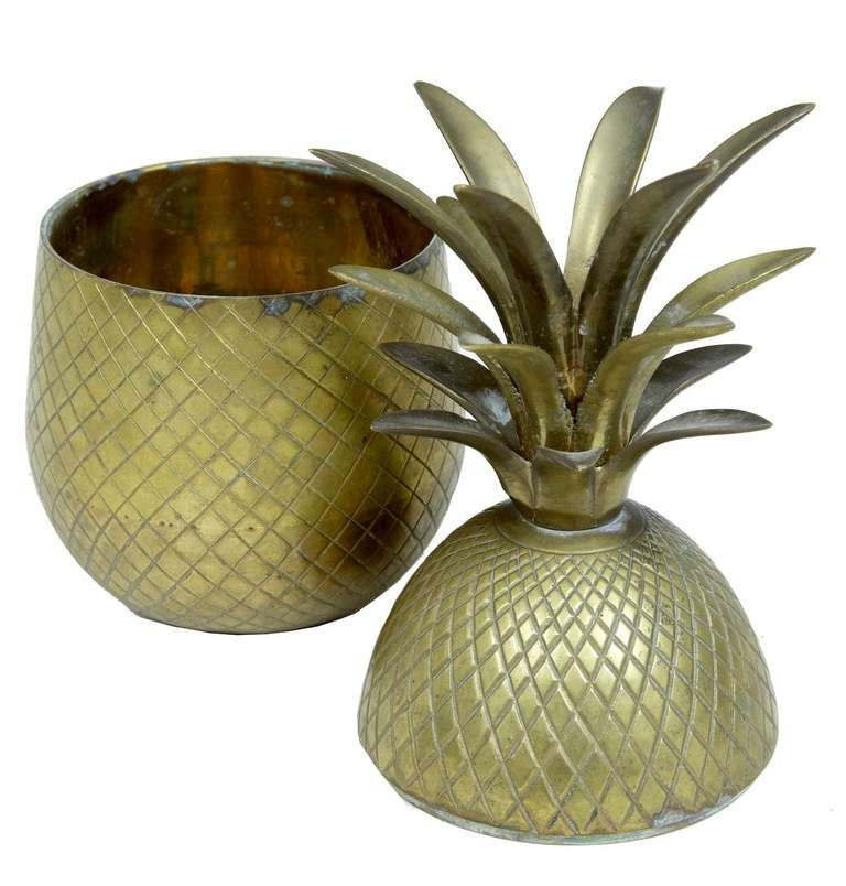 Early 20th century chisled brass and gilt pineapple box caddy  Stunning and rare chisled gilt brass pineapple two part box or caddy.  Measures: Height 10