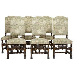 Set of 6 Carved Oak High Back Dining Chairs