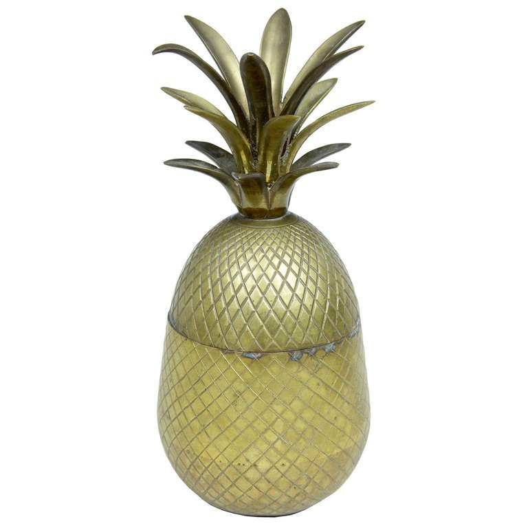 Early 20th Century Chiselled Brass and Gilt Pineapple Box Caddy For Sale