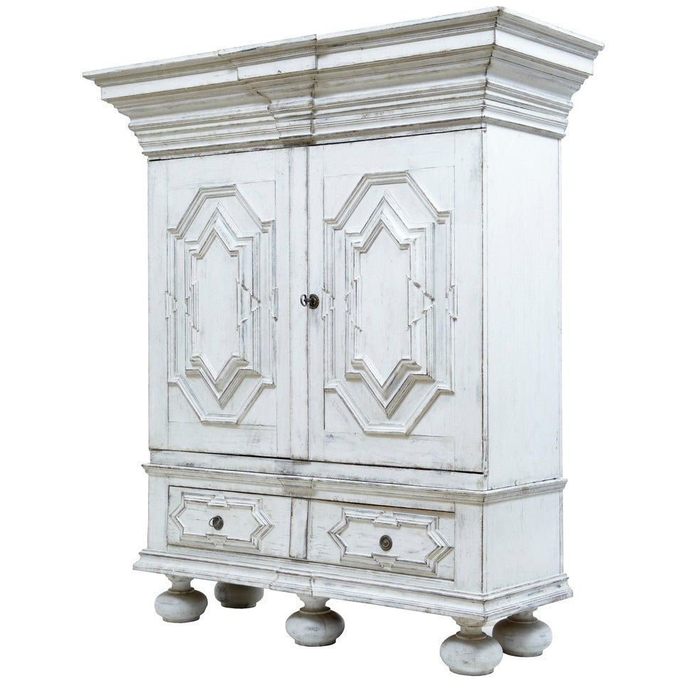 19th Century Painted Gothic Swedish Cabinet Cupboard At