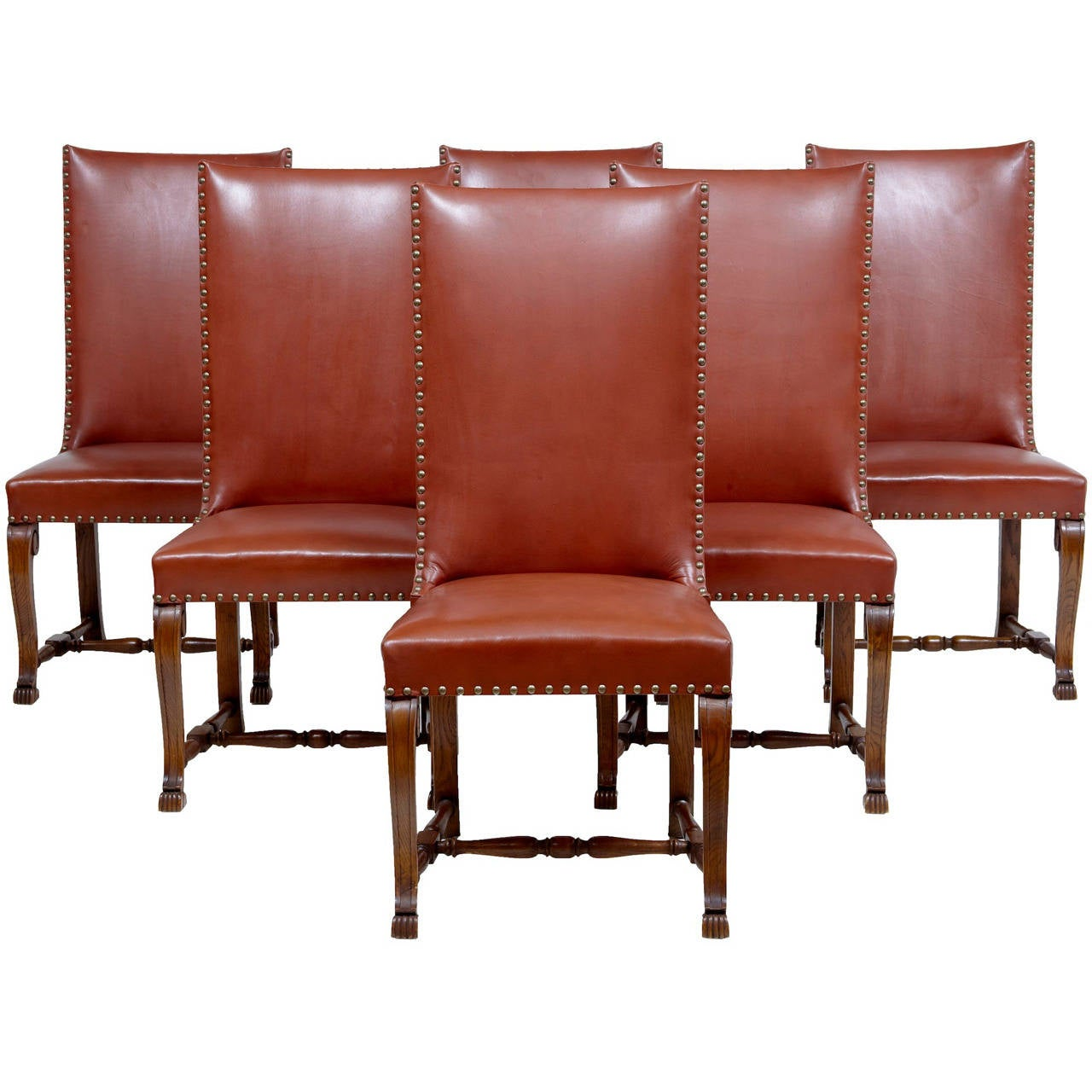 Unusual set of 6 walnut and oak art deco highback dining for Unusual oak dining tables