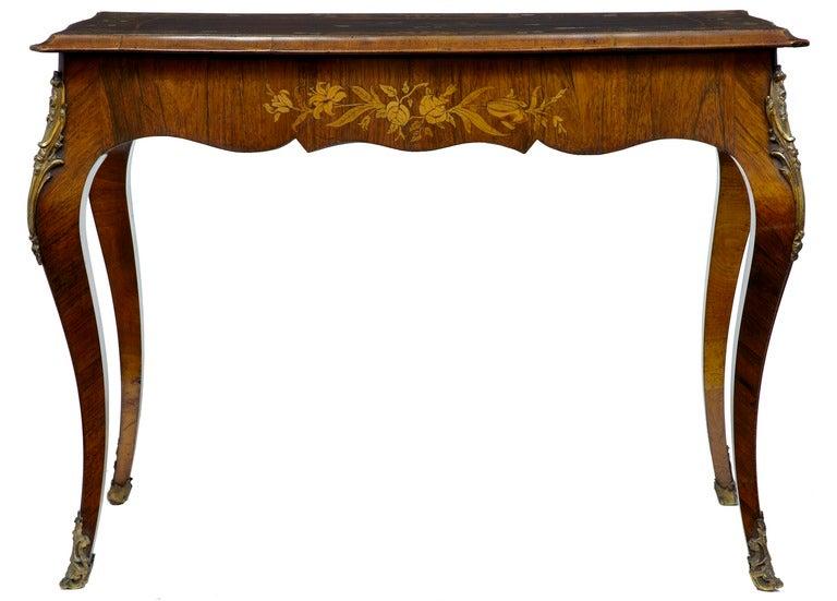 19th Century Antique Serpentine Inlaid Rosewood Center Table 2