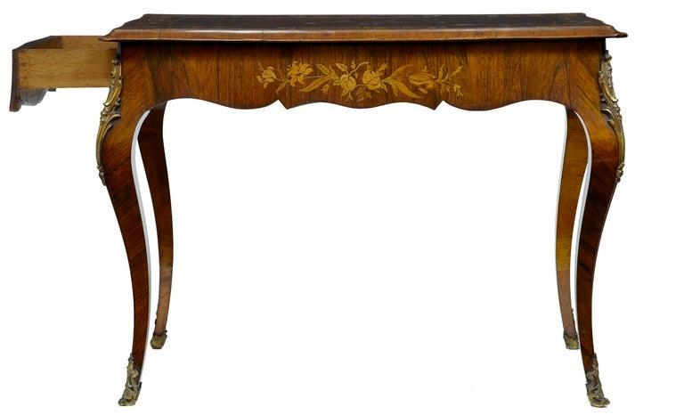 19th Century Antique Serpentine Inlaid Rosewood Center Table 3