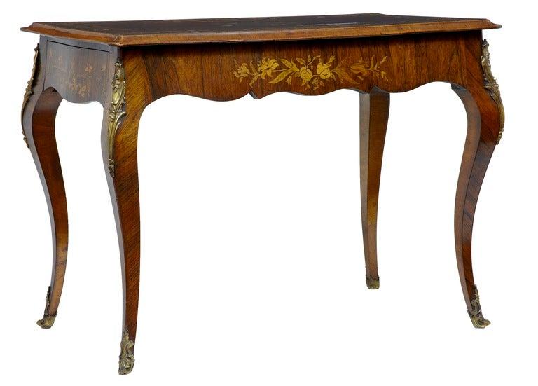 19th Century Antique Serpentine Inlaid Rosewood Center Table 4