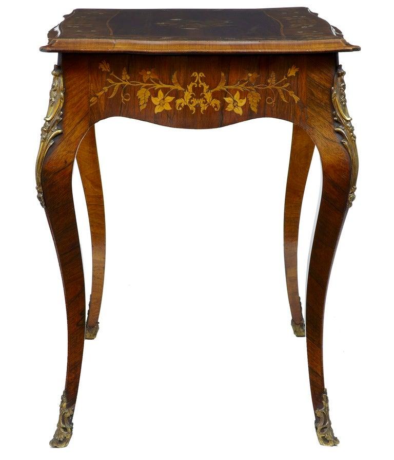 19th Century Antique Serpentine Inlaid Rosewood Center Table 5