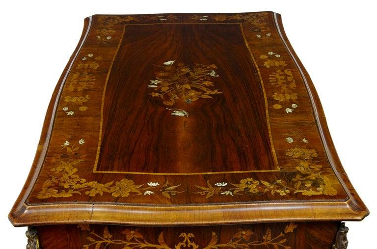 19th Century Antique Serpentine Inlaid Rosewood Center Table 6