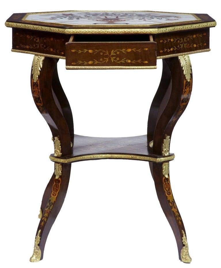 Antique Inlaid Marble Table : Th century antique mahogany italian inlaid marble center