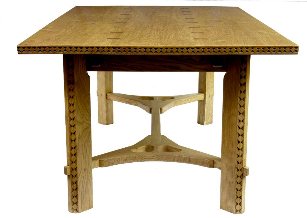 oak arts and crafts style extending dining table at 1stdibs