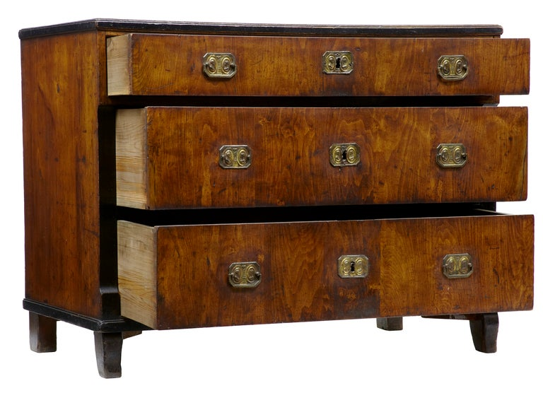 19th century antique biedermeier birch commode chest of for 12 inch depth dresser
