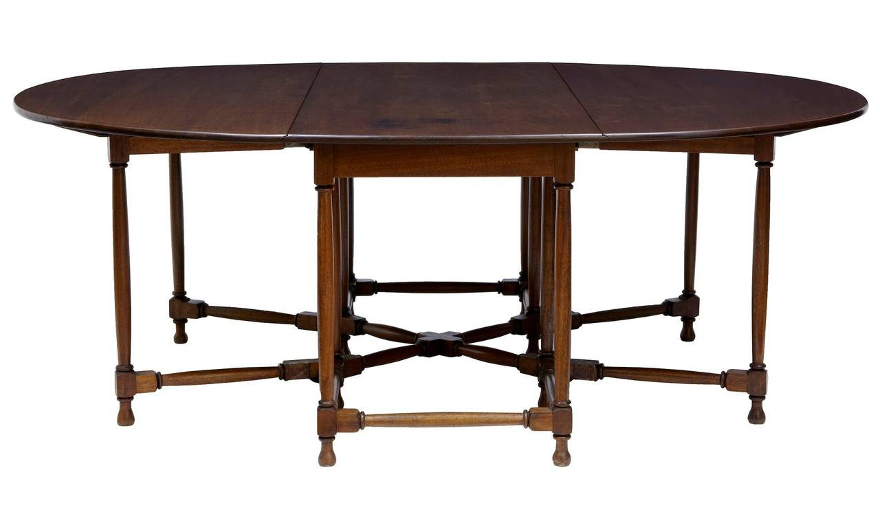 Large 1920 39 s mahogany gateleg dining table at 1stdibs for Dining room tables large