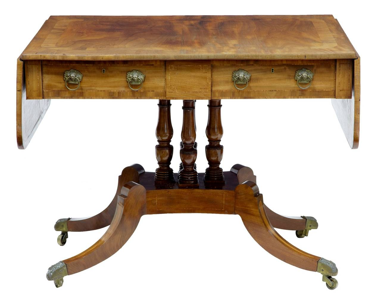 19th Century William IV Inlaid Mahogany Sofa Table In Good Condition For Sale In Debenham, Suffolk