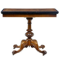 19th Century Victorian Walnut Card Table