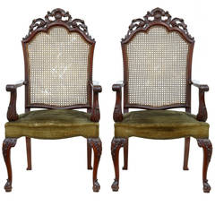 Pair Of Early 20th Century Carved Mahogany Caneback Armchairs