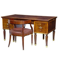 19th Century, French Amboyna Empire Desk Writing Table and Tub Chair Set
