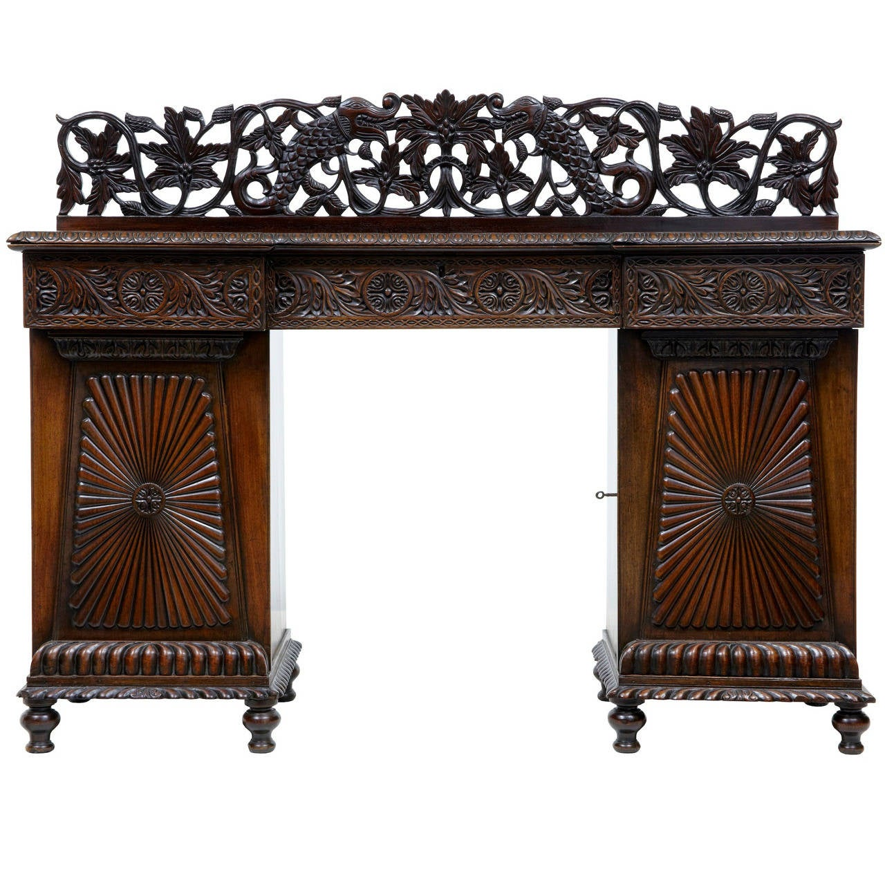 19th century carved padouk colonial anglo indian sideboard for Sideboard indien