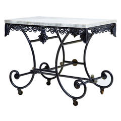 19th Century French Iron Bakers Marble Top Table