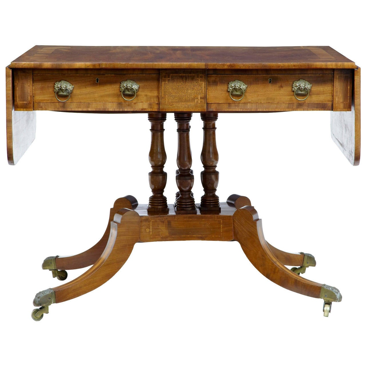 19th Century William IV Inlaid Mahogany Sofa Table For Sale