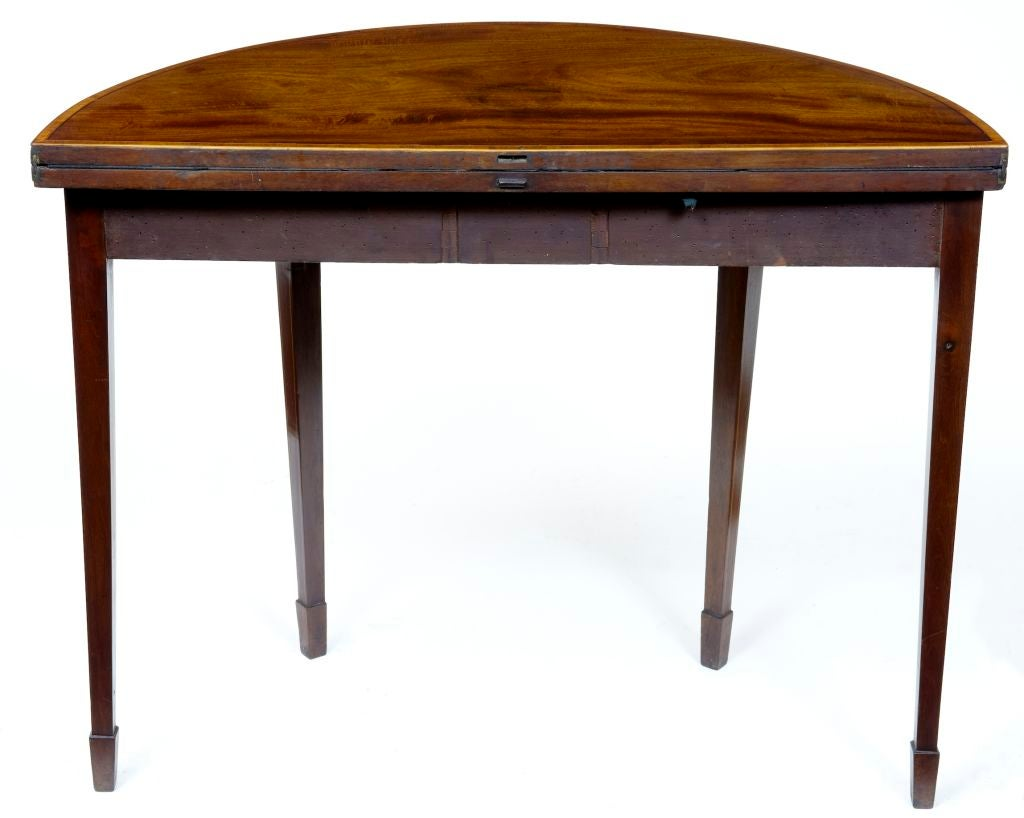 19th century antique demi lune mahogany card table at 1stdibs. Black Bedroom Furniture Sets. Home Design Ideas