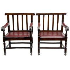 Pair Of Large Irish Oak Hall Porters Chairs Circa 1860