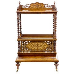 Quality Victorian Antique Walnut Canterbury What Not