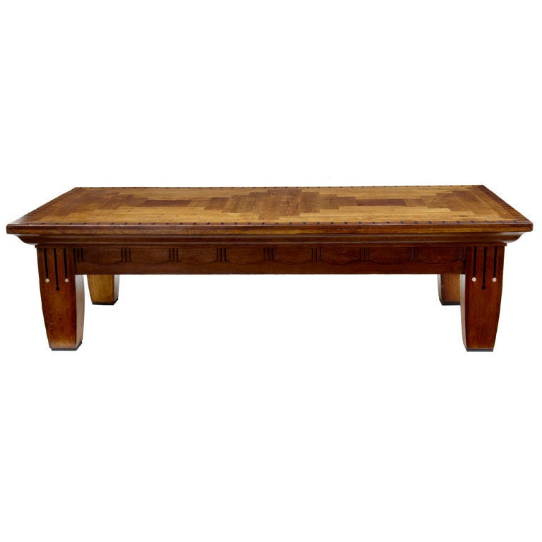 Art deco geometric massive oak coffee table 87 inches at for Geometric coffee table