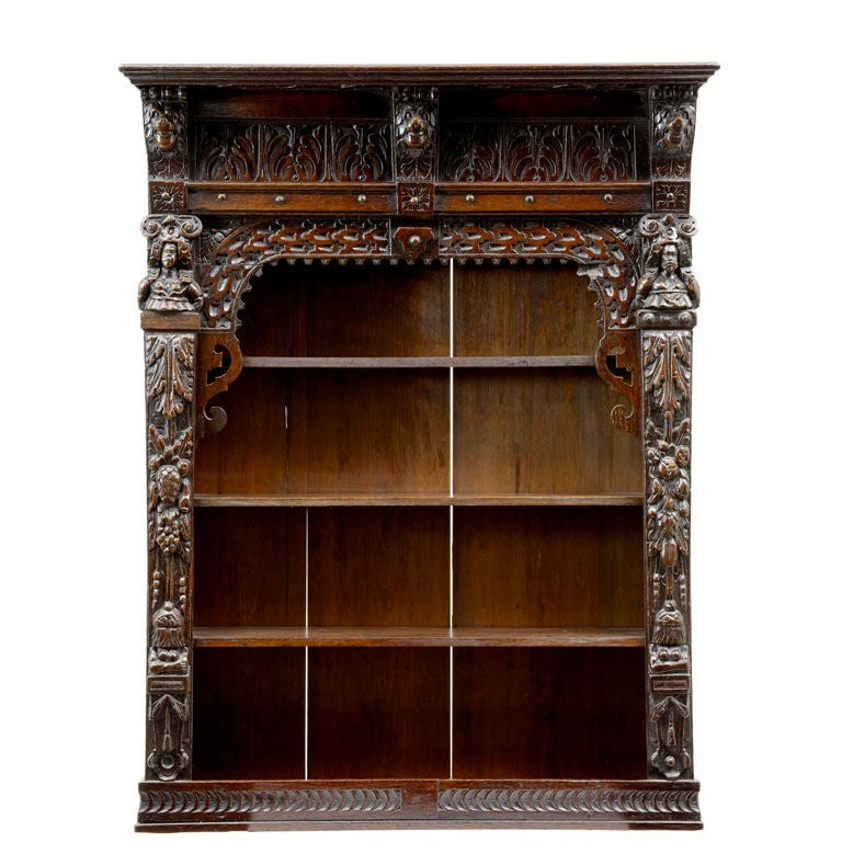 Victorian antique oak carved wall cabinet at 1stdibs for Carved kitchen cabinets