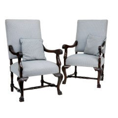 Pair of 19th Century Antique French Mahogany Armchairs