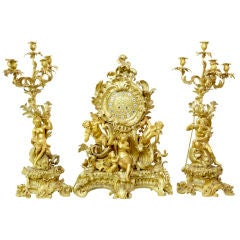 Important Antique French Ormolu Clock Garniture
