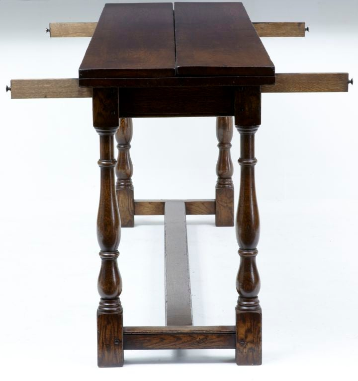 Large English Made Oak Flip Top Dining Table At 1stdibs