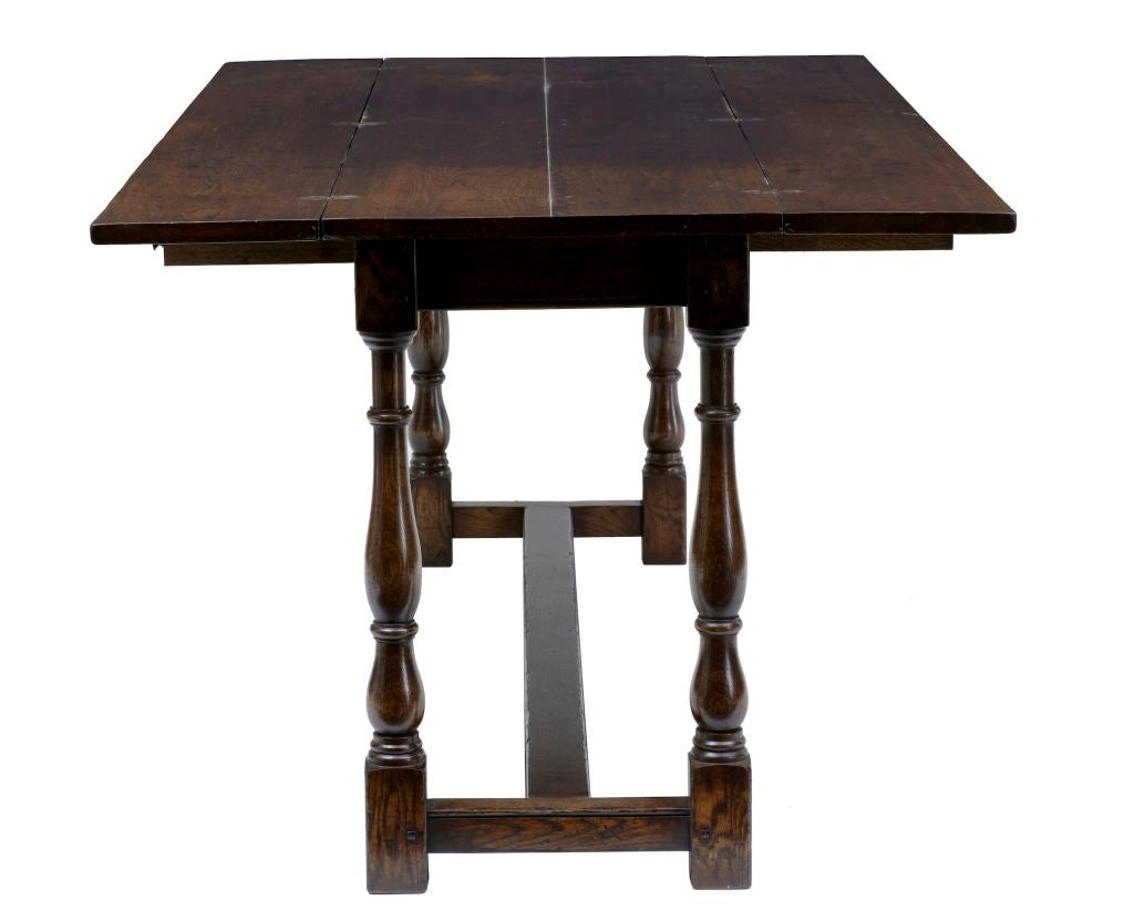 Large english made oak flip top dining table at 1stdibs for Dining room tables large