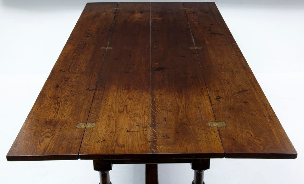 Large English Made Oak Flip Top Dining Table For 2