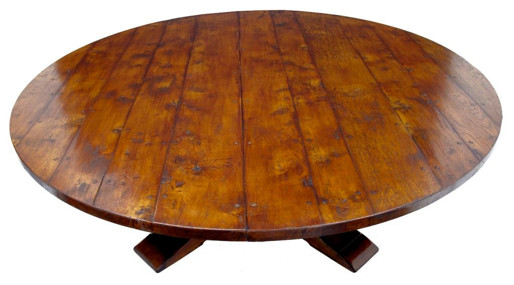 Massive 20th century round oak dining table seats 14 at for 120 round table seats how many