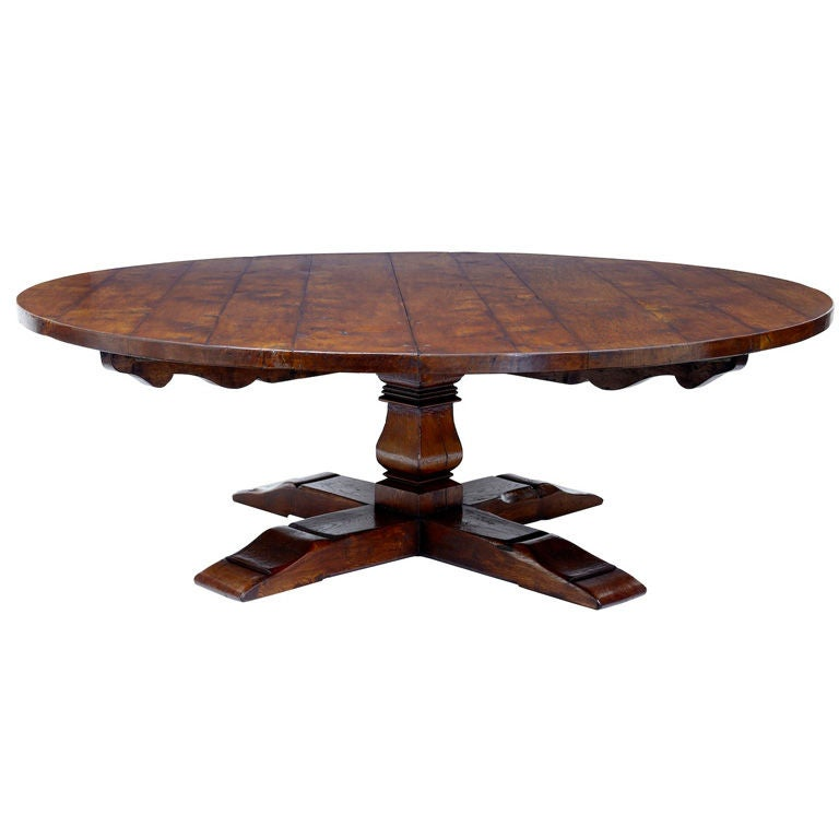 Massive 20th century round oak dining table seats 14 at for 14 seater dining table