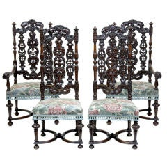 19th Century Set Of 4 Antique Carolean Carved Walnut Chairs