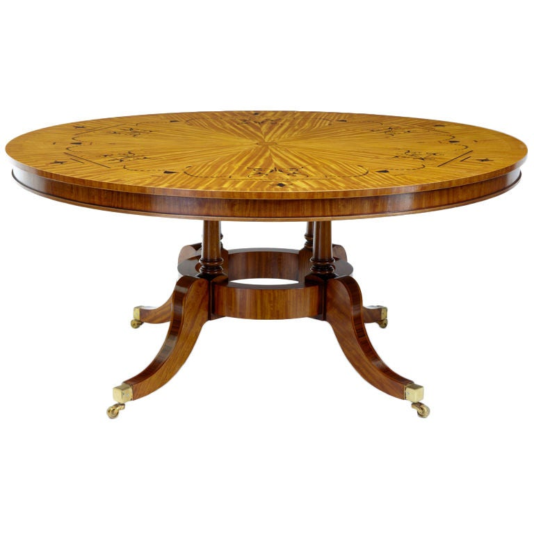 Stunning satinwood inlaid round breakfast dining table at for Dining table support