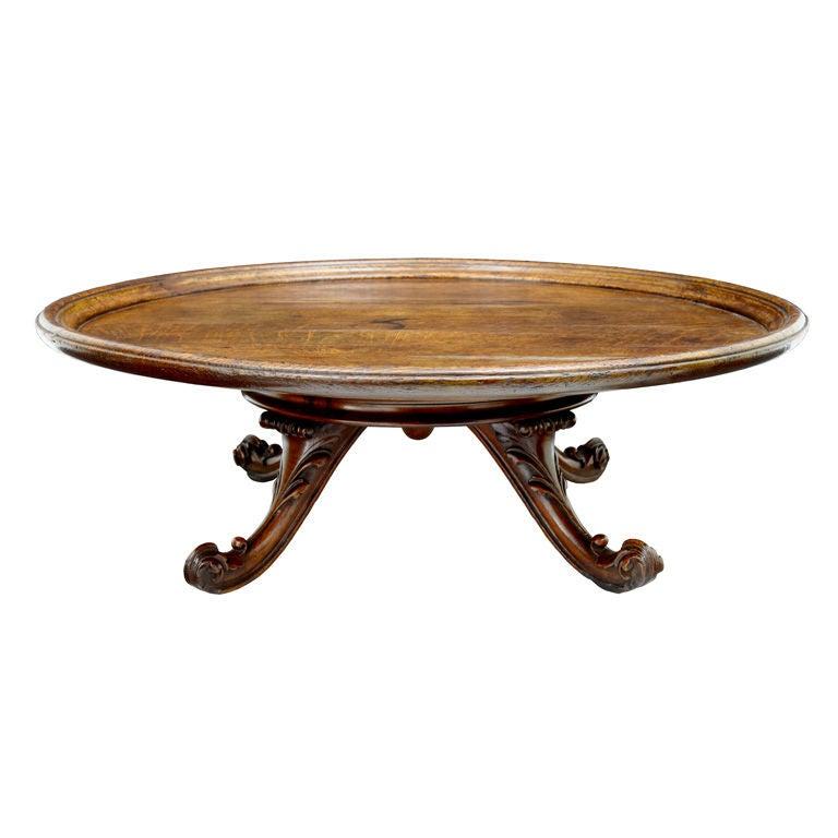 Large Antique Victorian Solid Oak Lazy Susan Table 1