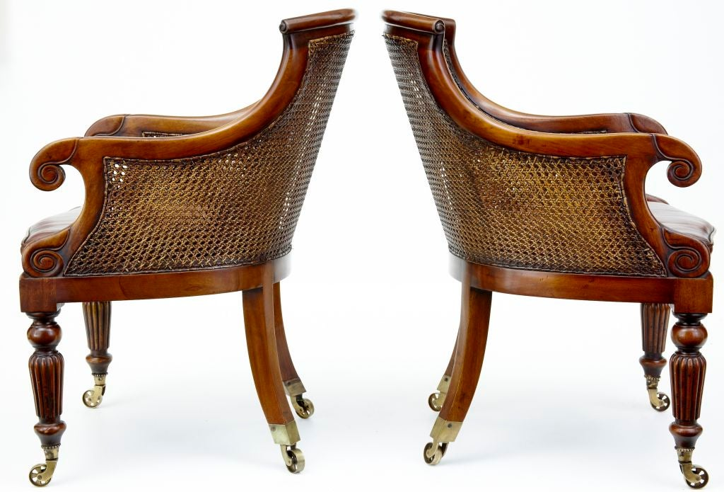 PAIR OF REGENCY STYLE BERGERE CHAIRS WITH LEATHER SEATS AND BACKS FINE  SHALLOWER SEAT, DOUBLE